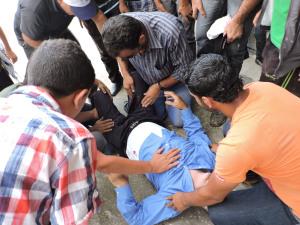 Uomo palestinese ferito