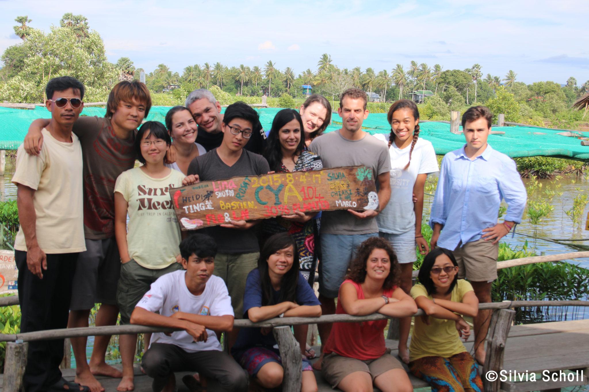 Tra le mangrovie cambogiane, volontari in azione