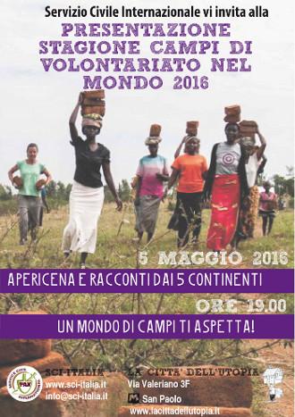 Serata di presentazione campi di volontariato 2016