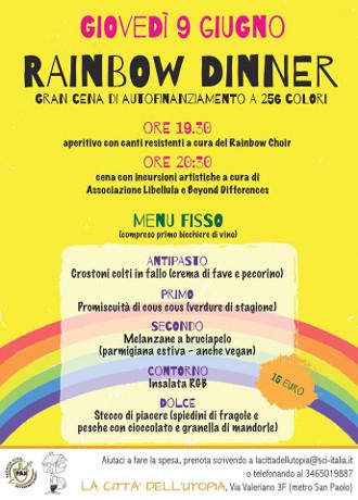9 giugno: Rainbow Dinner, grande cena di autofinanziamento