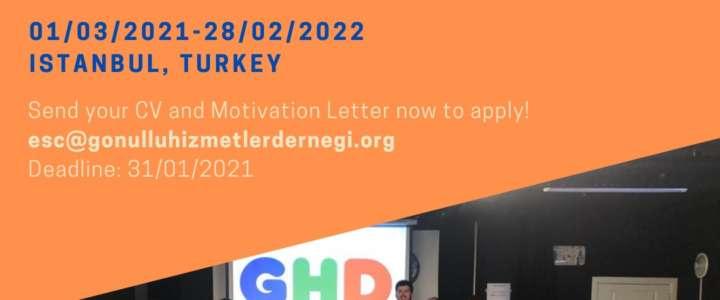 """Call per partecipanti: La ONG """"GHD"""" cerca due volontari ESC per un anno a Istanbul (Turchia)"""