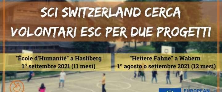 Call per partecipanti: SCI Switzerland cerca volontari ESC per due progetti