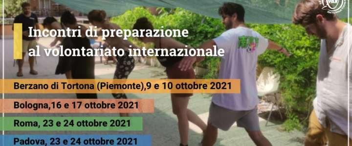 Incontri di preparazione al volontariato internazionale autunno 2021
